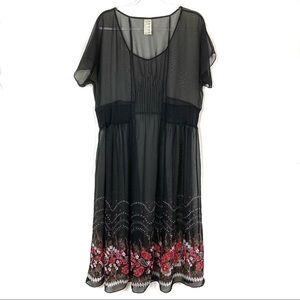Free People | Black Dot Sheer Dress Floral Hem